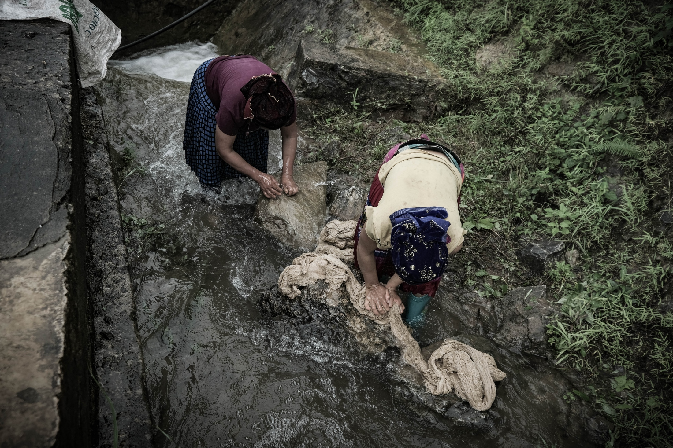 <p>Hmong Women Washing, Mountain Pass,...