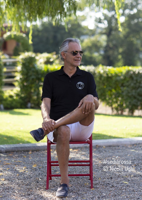 """The great tenor Andrea Bocelli in the garden of the house in Lajatico (PI) before the """"Teatro del Silenzio""""."""
