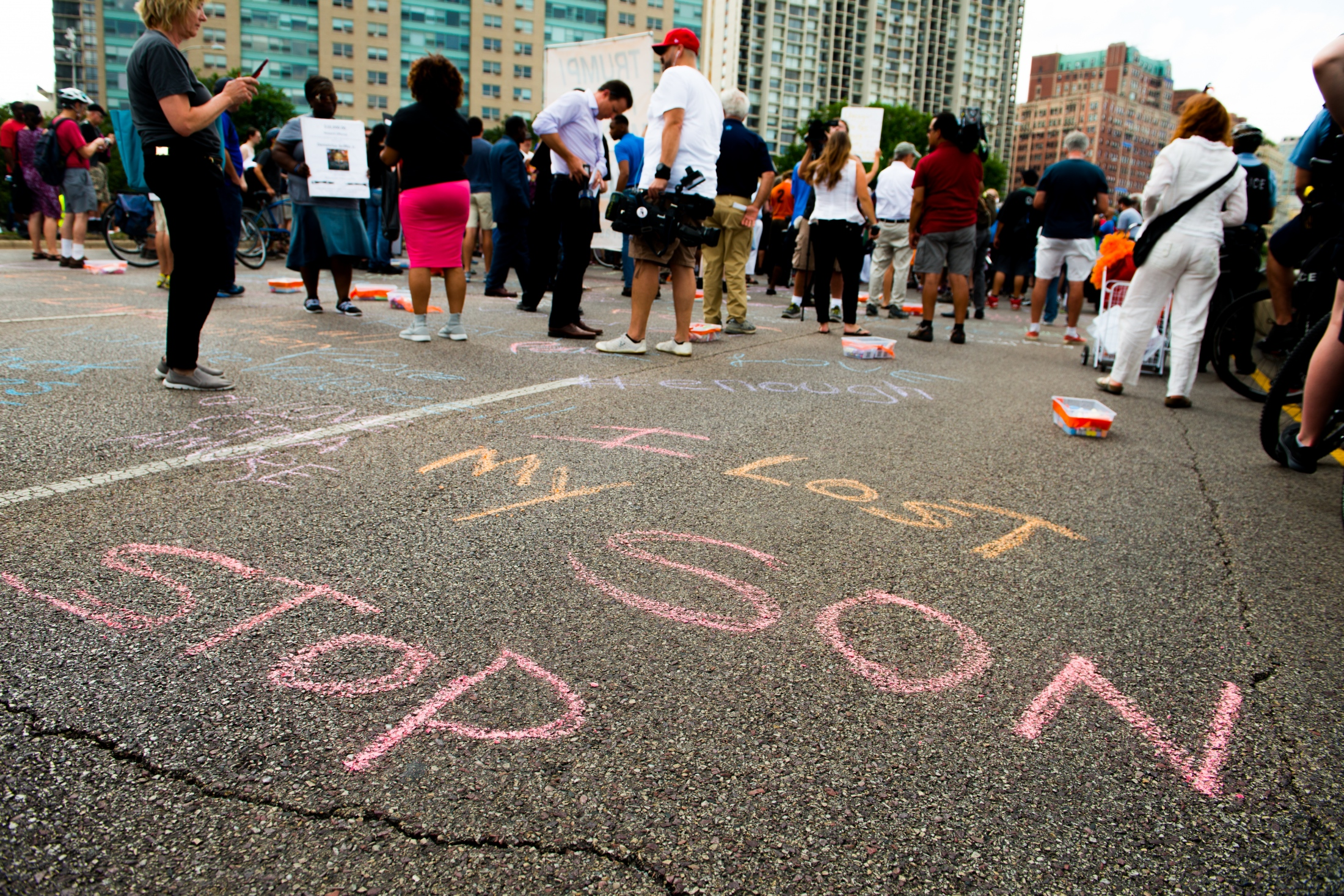 Photography image -  08.02.2018  Anti gun violence activists block lakeshore drive, and march to Wrigley Field.