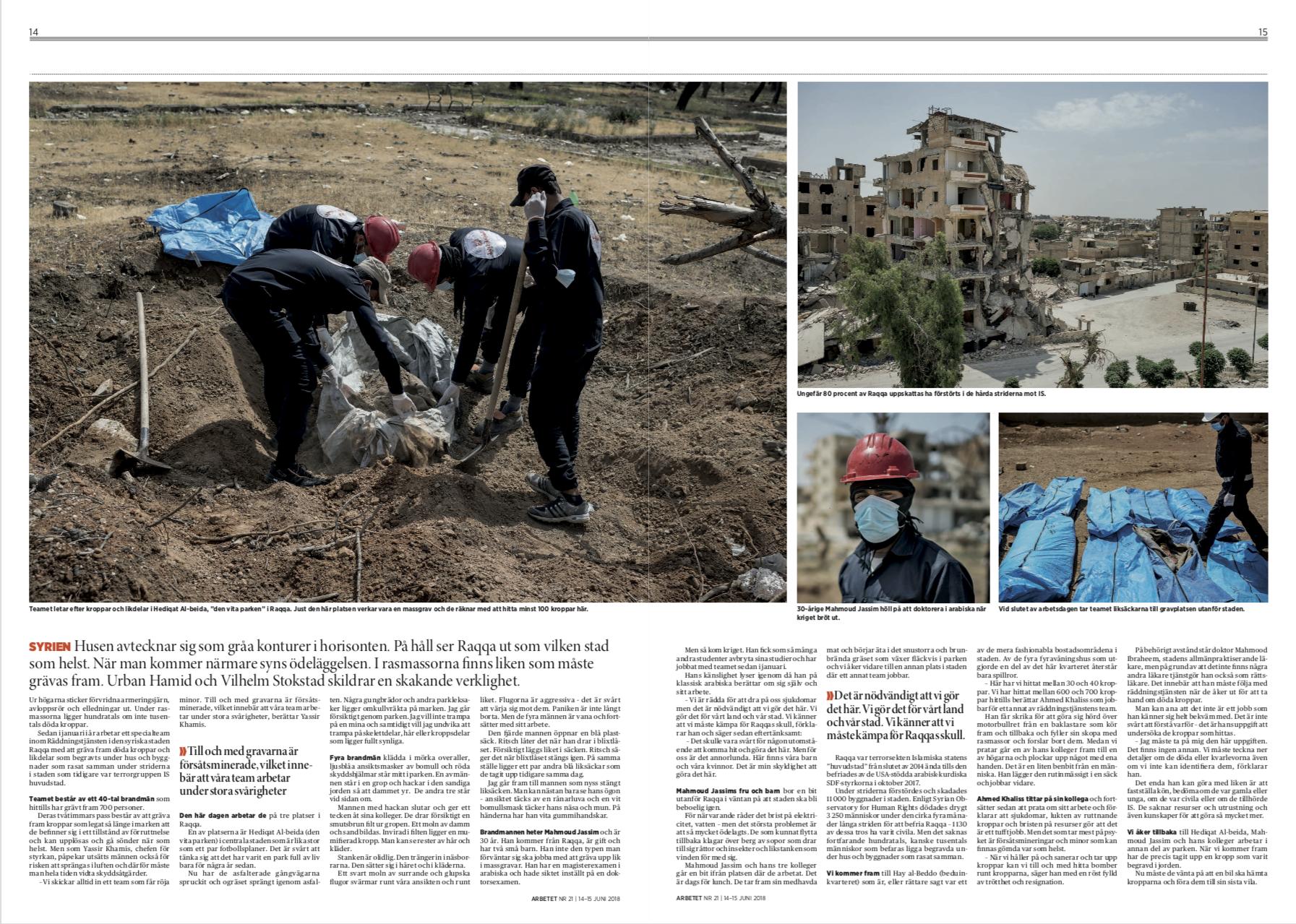 Gravediggers of Raqqa, Arbetet, 2018.