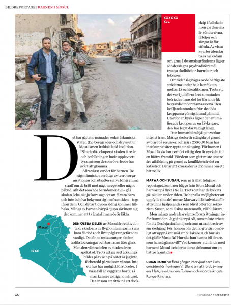 Children of Mosul, Tidningen Vi, 2018.