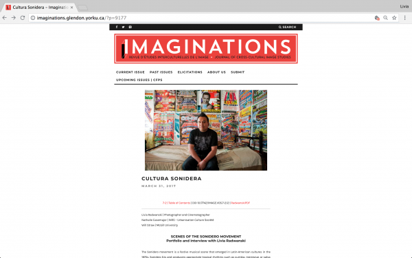 Imaginations: Journal of Cross Cultural Studies . April, 2017.  ( Interview + Portfolio). Canada
