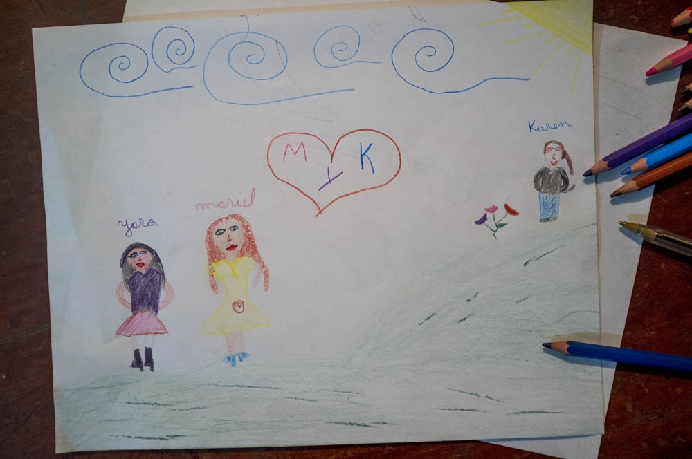 drawing made by yara and showing her vision of her current family, with Karen being part of it. Santiago, Chile. 2013
