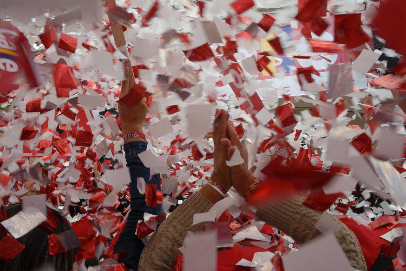 (EN) May 20, 2018 - Bogota, Colombia. Closing rally of the Colombian presidential candidate Humberto De La Calle. (ES) 20 de mayo, 2018 - Bogotá, Colombia. Cierre de campaña del candidato a la presidencia Humberto De La Calle en Bogotá.