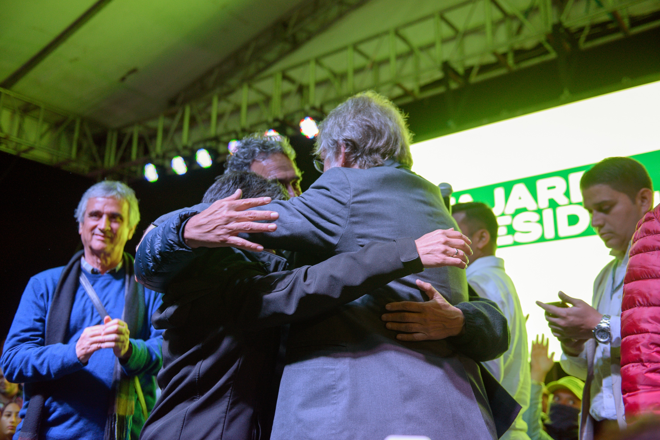 (EN) May 27, 2018 - Bogota, Colombia. Sergio Fajardo, presidential candidate, Claudia López, vice-presidential candidate and Antanas Mockus, hug on stage after the results of the first round of 2018 presidential elections, leaving Sergio Fajardo third in place. (ES) 27 de mayo 2018 - Bogotá, Colombia. Sergio Fajardo,  candidato a la predidencia, Claudia López, candidata a la vice-presidencia y Antanas Mockus se abrazan al término de la primera vuelta de elecciones presidenciales 2018.