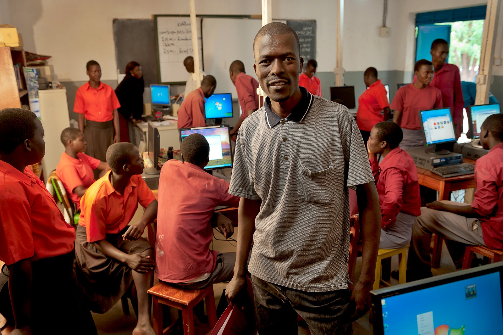 IT class teacher, Denis, Irene Gleeson Foundation, Uganda
