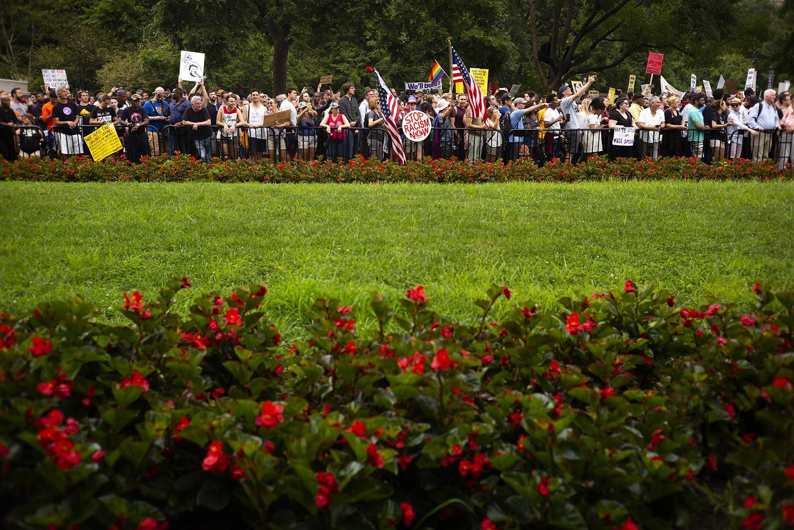 Peaceful protesters in Lafayette Square.