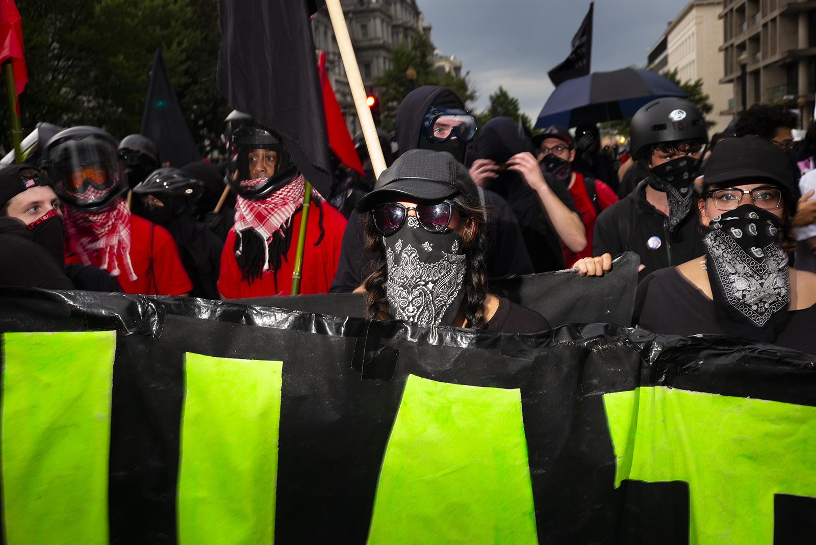 Members of Antifa protest near the White House during a Unite the Right rally on August 12, 2018. Less than 30 white supremacists came to DC for the protest while thousands of peaceful protestors and around 100 Antifa activists showed up to counter.