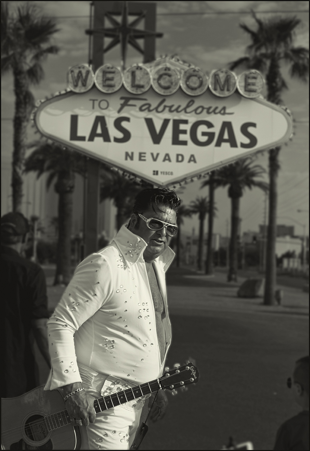 """""""Elvis"""" Mark702 at the famous """"Welcome to Las Vegas"""" sign Las Vegas, Nevada, USA. Labor day morning 2018."""