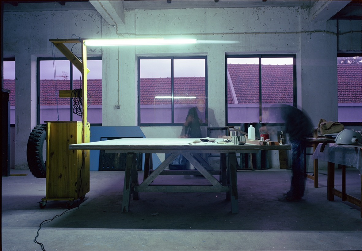 Pedro Cabrita Reis working in his Studio, Lisbon, Portugal. 2014. This image was made with color film with a Fuji GW690 III camera, in 6x9 format. It was scanned by the artist with Hasselblad flextight X1 professional scanner.  This has a edition of 6 + 3 PA  in the size 75x110 cm. It is printed by the artists in archival quality.