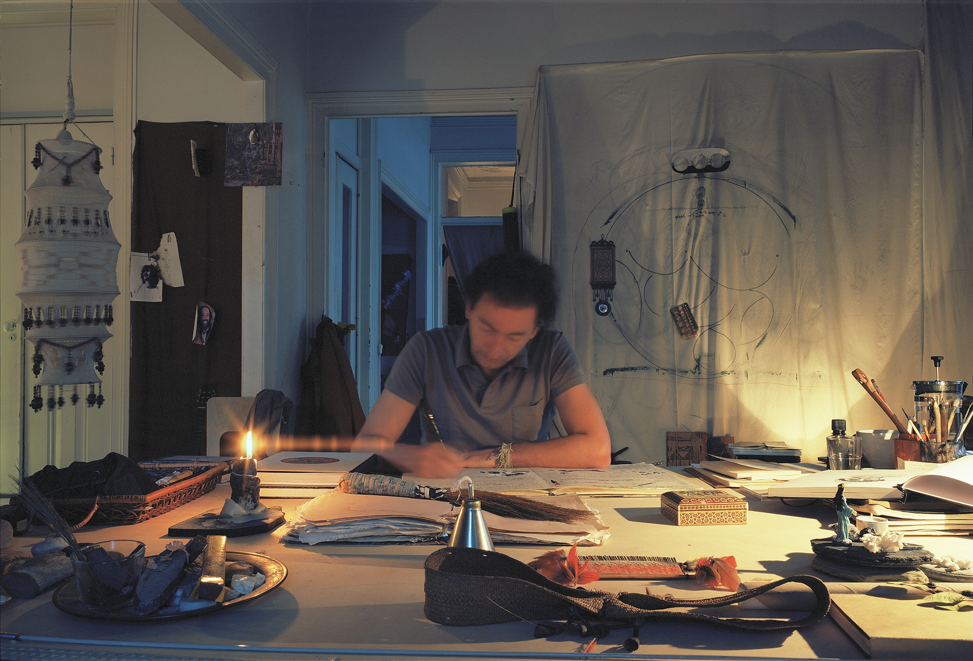 Antonio Poppe working in his Studio, Lisbon, Portugal. 2014. This image was made with color film with a Fuji GW690 III camera, in 6x9 format. It was scanned by the artist with Hasselblad flextight X1 professional scanner.  This has a edition of 6 + 3 PA  in the size 75x110 cm. It is printed by the artists in archival quality.