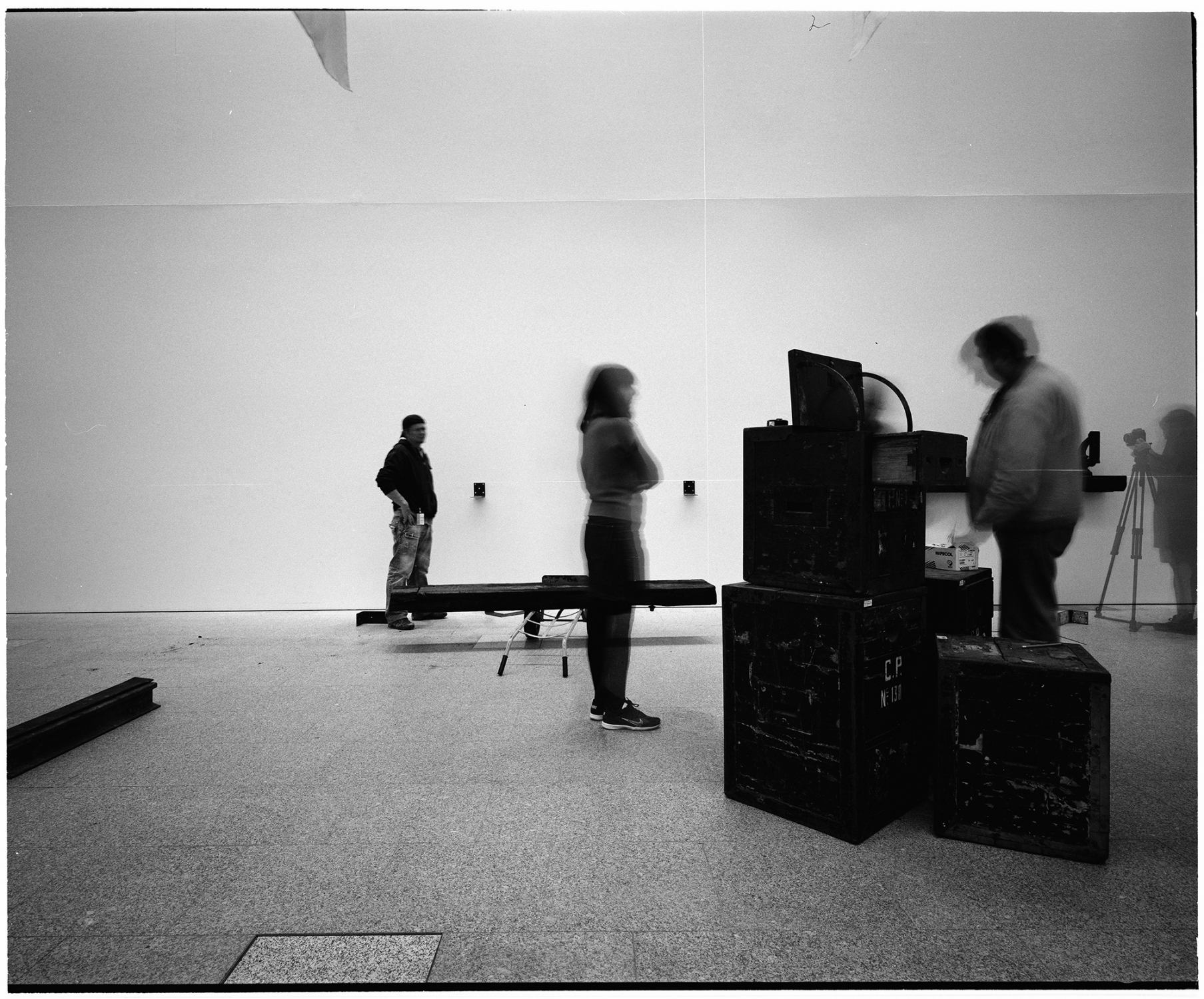 Carla Filipe at Berardo Museum, instaling a solo exhibition, Lisbon, Portugal., 2014. This image was made with black and white  film and Mamyia 7II camera, in 6x7 format. This numbered copied was processed in Ilford FB glossy paper, 50x60cm.