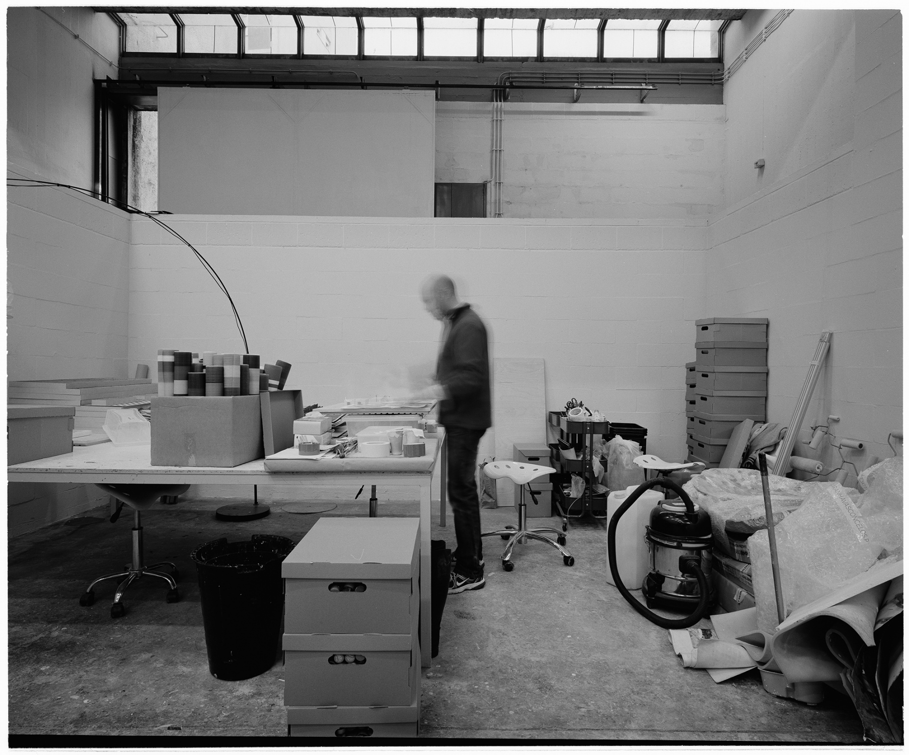 Rodrigo Oliveira in the studio, Lisbon, Portugal. In 2014. This image was made with black and white  film and Mamyia 7II camera, in 6x7 format. This numbered copied was processed in Ilford FB glossy paper, 50x60cm.