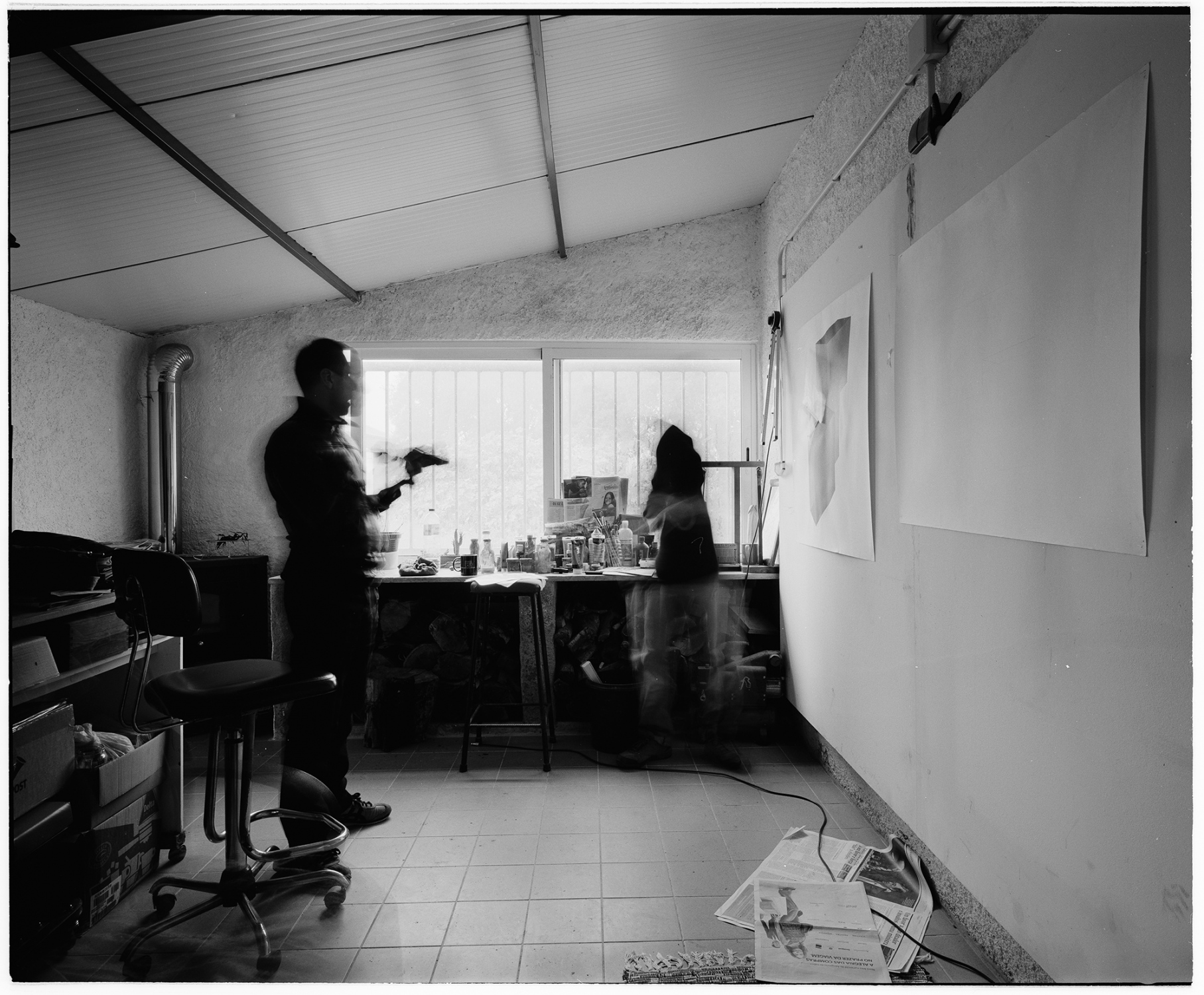 Orlando Franco anb André Banha in the studio, Coruche, Portugal. In 2014. This image was made with black and white  film and Mamyia 7II camera, in 6x7 format. This numbered copied was processed in Ilford FB glossy paper, 50x60cm.