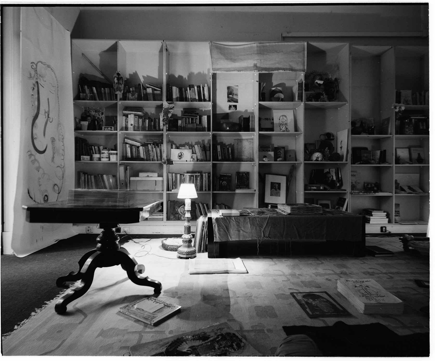 Antonio Poppe in the studio, Lisbon, Portugal. In 2014. This image was made with black and white  film and Mamyia 7II camera, in 6x7 format. This numbered copied was processed in Ilford FB glossy paper, 50x60cm.