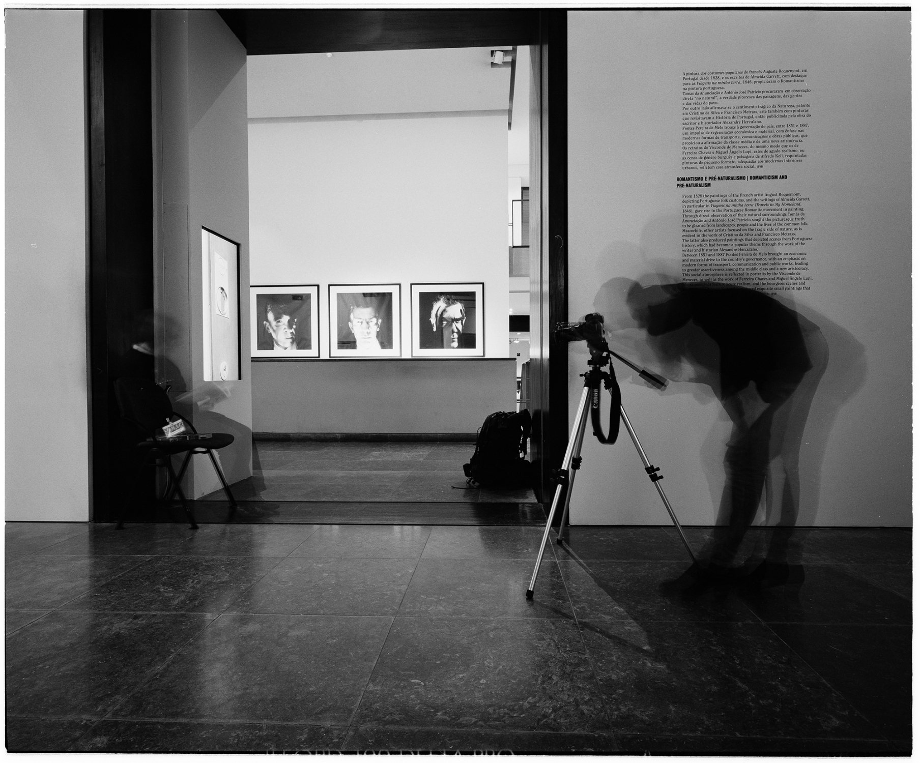 Tatiana Macedo filming in the Chiado Museum, Lisbon, Portugal. In 2014. This image was made with black and white  film and Mamyia 7II camera, in 6x7 format. This numbered copied was processed in Ilford FB glossy paper, 50x60cm.