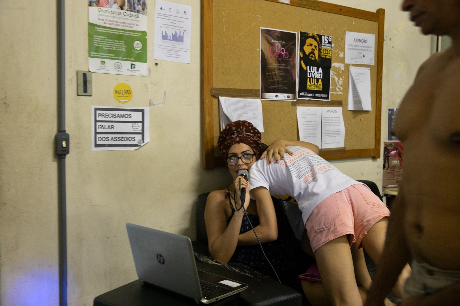 Jeane, 23, holds a friend at the University of Bahia Student's Residence. As a trans woman and student on Arts, Jeanne fights for her gender state and create cultural meetings and events around LGBT mouvement fights. Salvador.