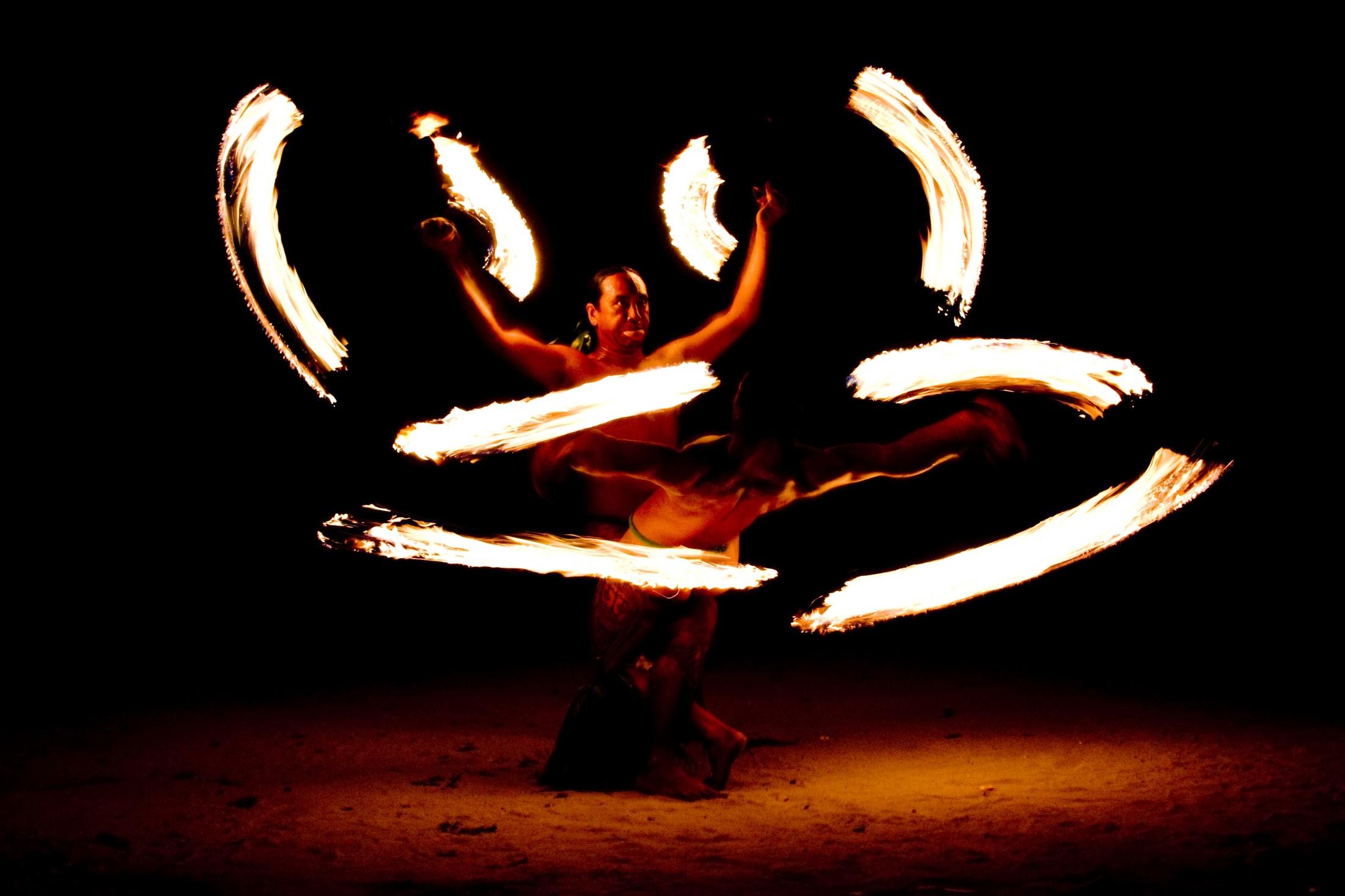 Fire dancers, Moorea Tahiti