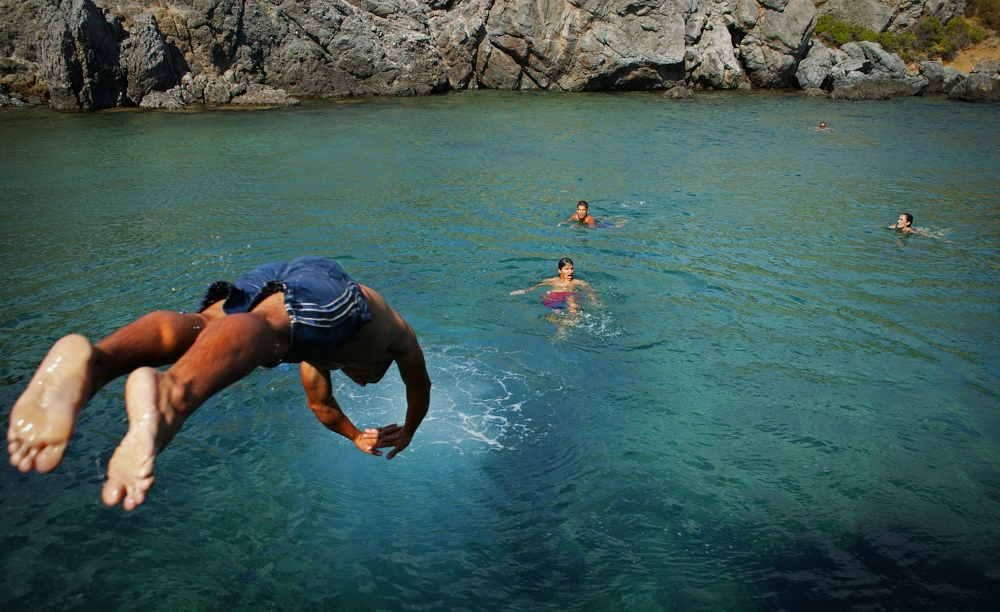 Swimmers on the Aegean Sea