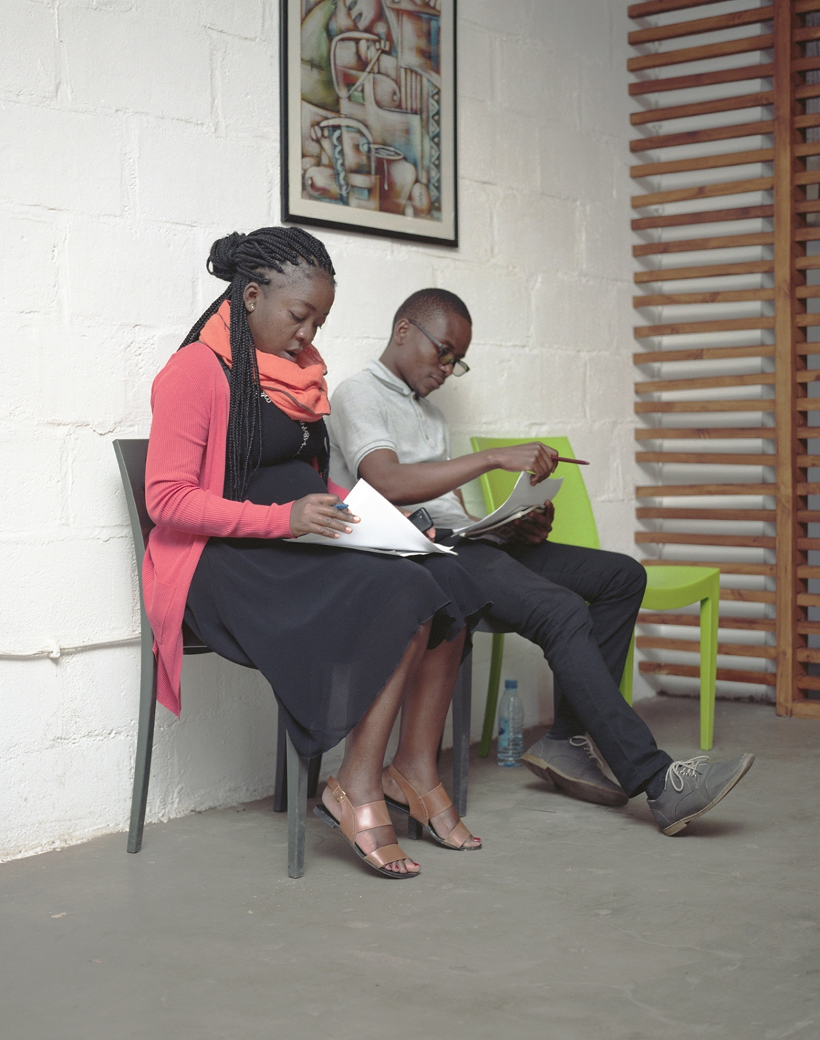 Two young Mozambicans are trained for job interviews in a private incubator company.
