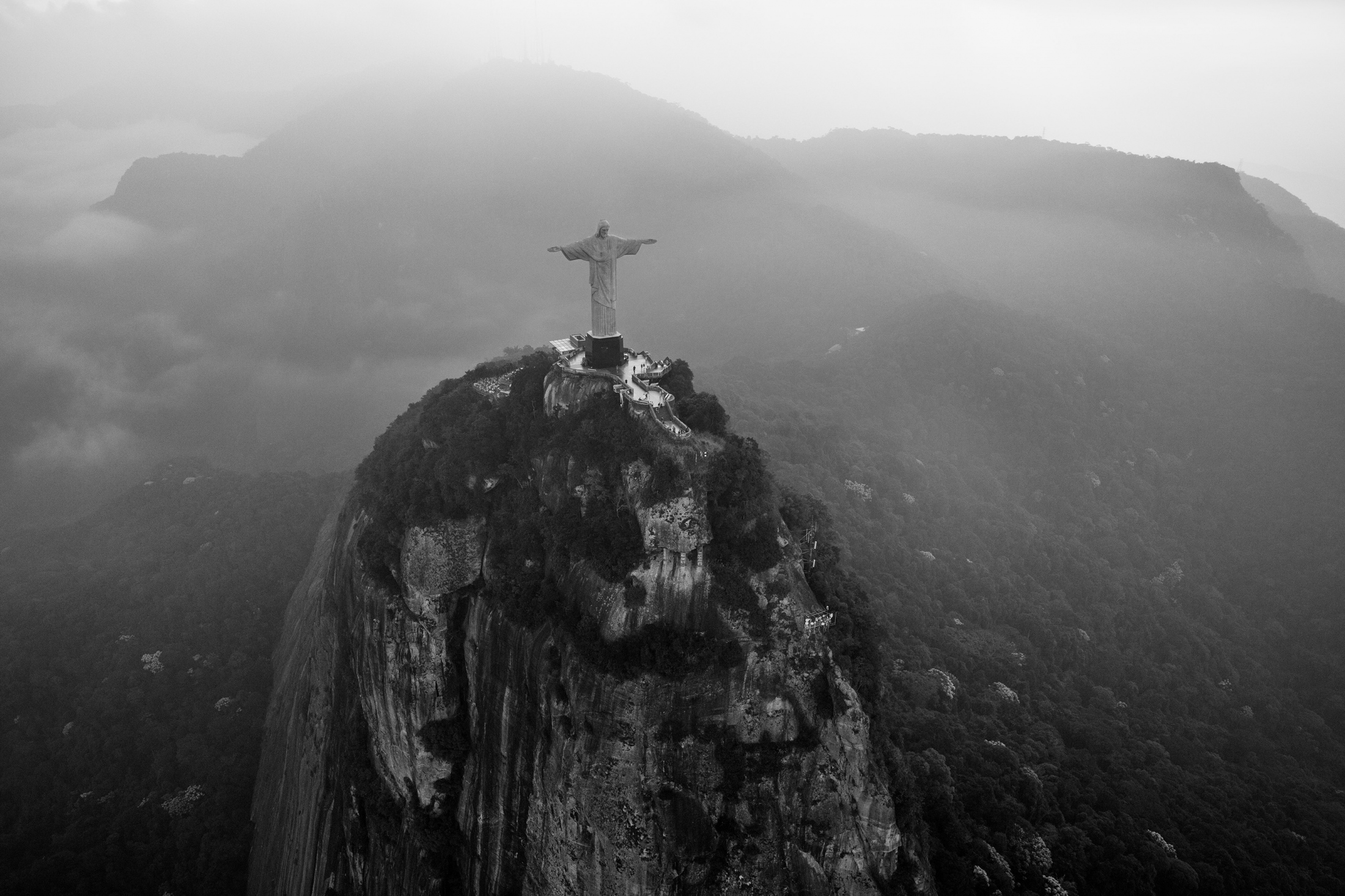 An aerial view of the statue of Christ the Redeemer. June 2016.