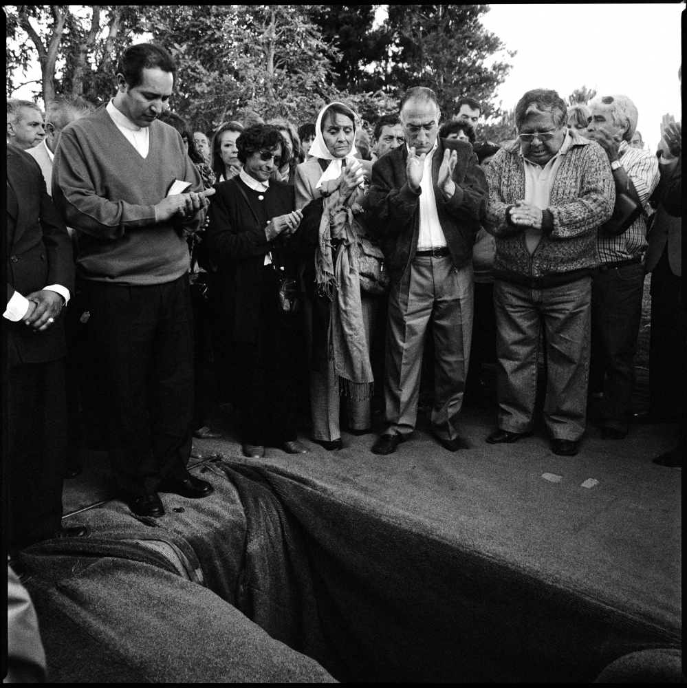 "The funeral of Horacio Bau a left-wing montonero militant from Trelew in the argentine Patagonia who disappeared in La Plata, Argentina in November 1977. His remains were found buried in a cemetery in the city of La Plata as a ""no name"" in early 2007 and the burial ceremony took place in Trelew in November 2007. Trelew, Argentina, November 2007."