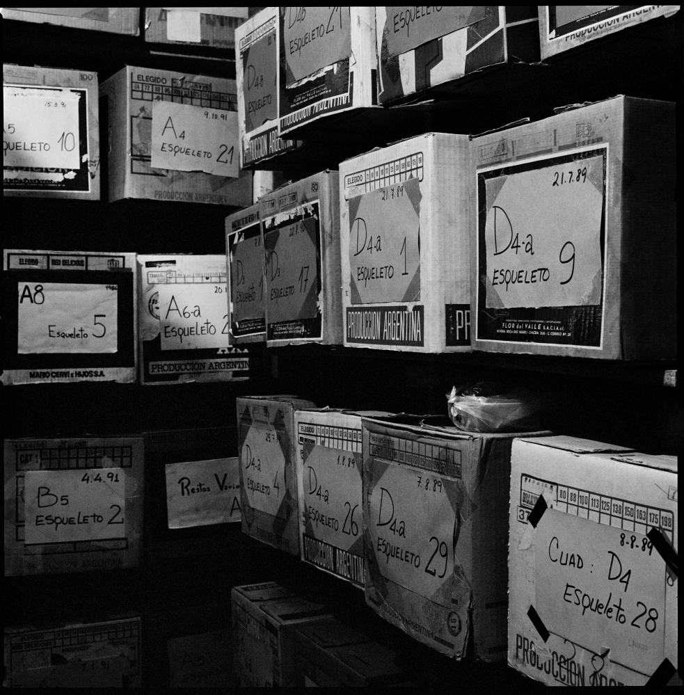 One of the storage rooms of the EAAF (Argentine Forensic Anthropology Team in spanish), filed with boxes of recovered remains of political disappeared people. This remains are in storage to be identified and only when with a very strong evidence of identification is returned to the families of the disappeared.  Buenos Aires, Argentina, January 2012.