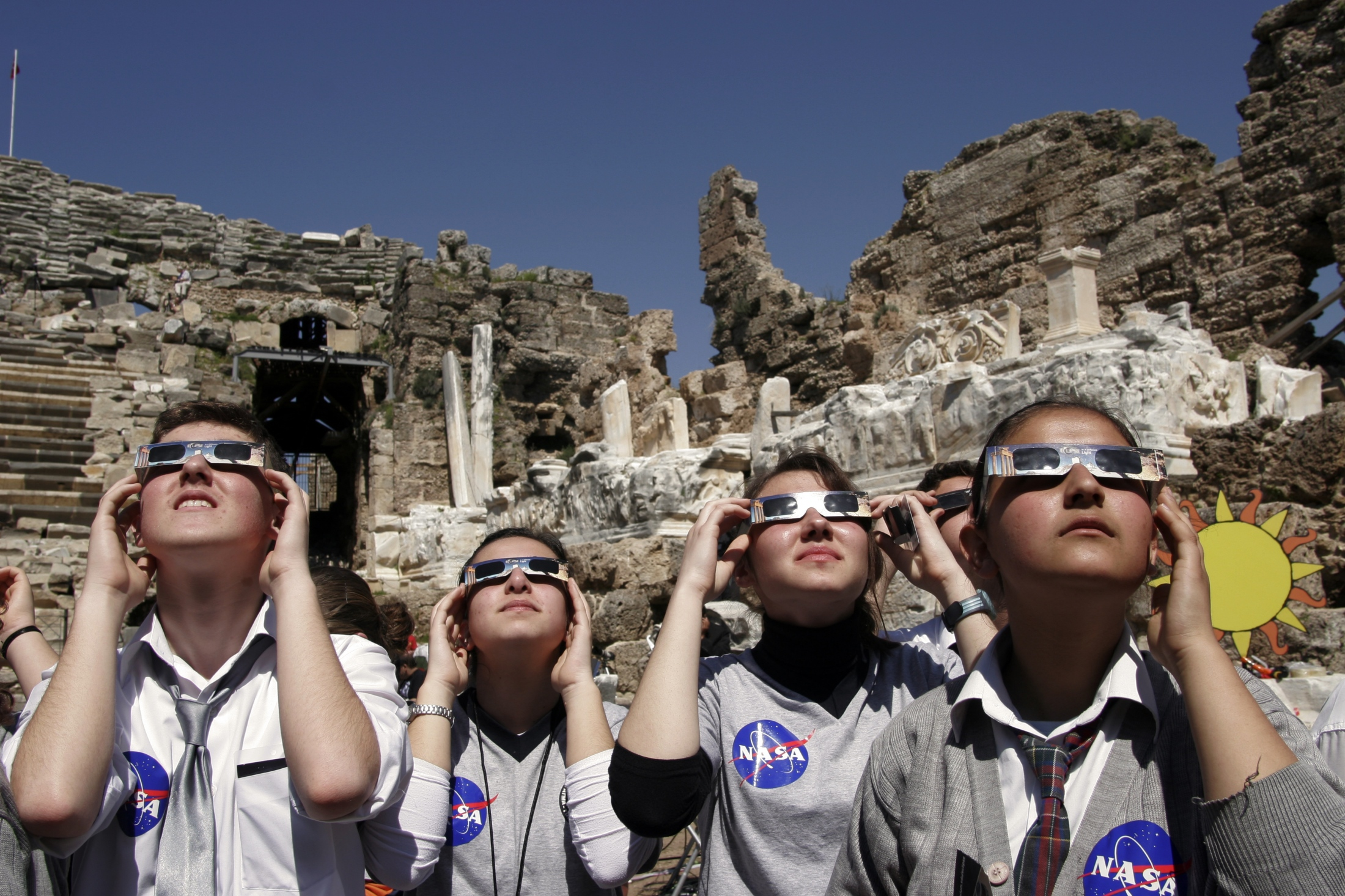 Turkish middle school students view the total solar eclipse with the help of NASA scientists Side, Turkey