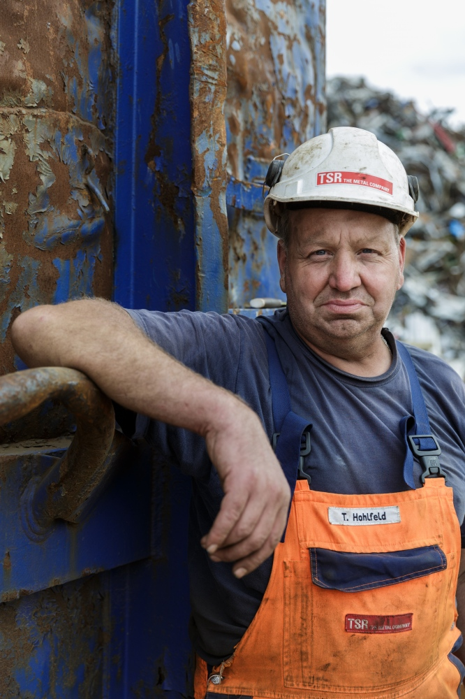 Thomas Hohlfeld works for TSR Recycling in Bremen, a big scrapyard for metals.