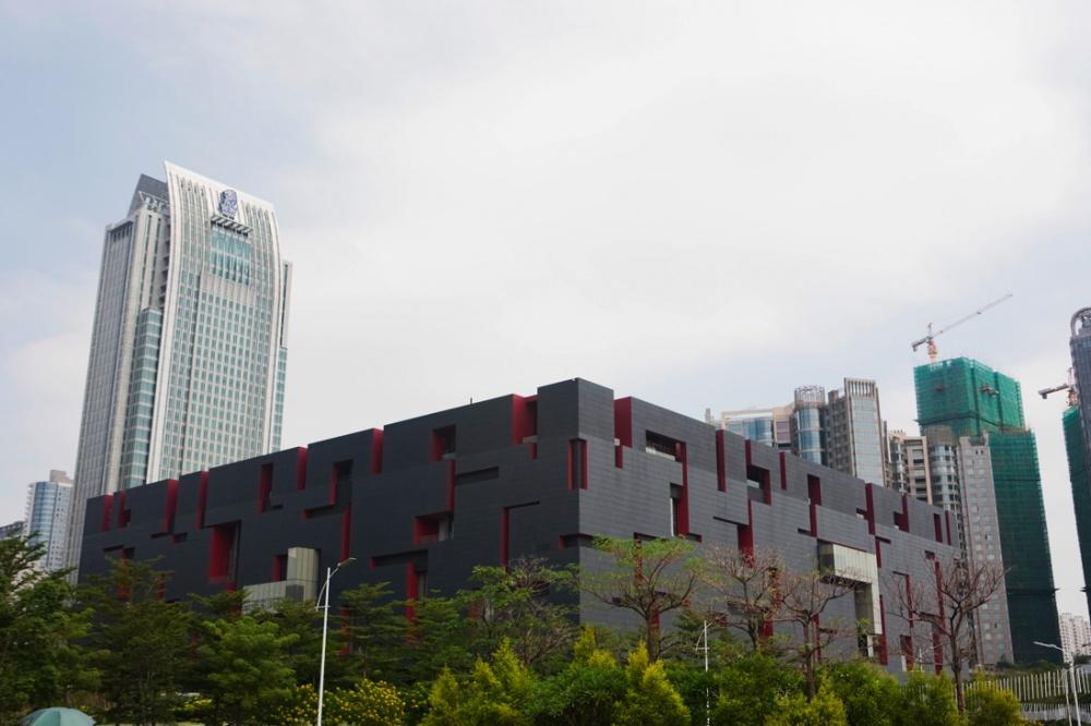 Vista del Museo Guangdong, en la más nueva región financiera y empresarial, en el distrito de Tieanhe / View of the Guangdong Museum, in the new financial and business area in the district of Tianhe. Guangzhou