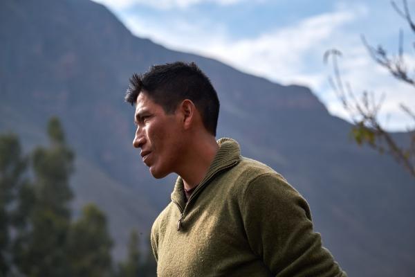 Julio Cesar Nina on hisfarm in Calca, Peru.
