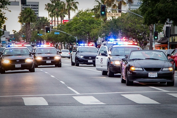 War Veteran Aaron Levy leads Los Angeles Police officers on a slow speed pursuit.