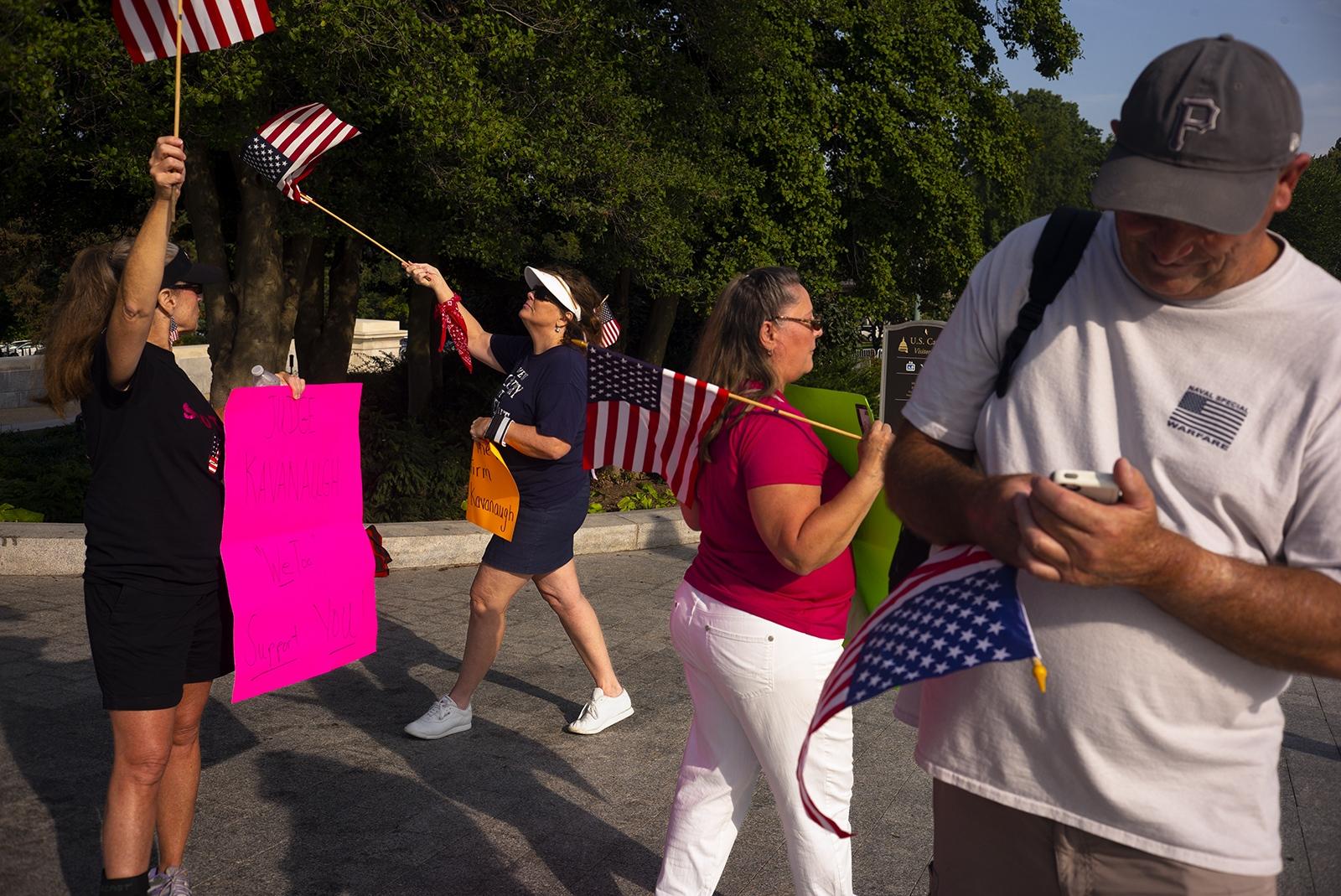 Pro Judge Kavanaugh protesters from Virginia Beach, VA on Capitol Hill.