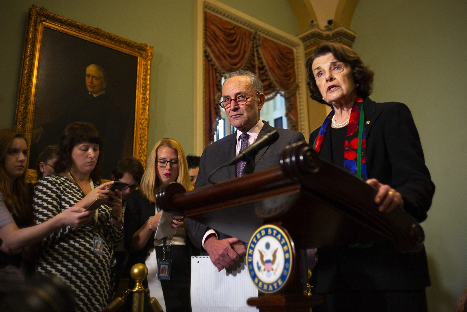 Senators Dianne Feinstein and Chuck Schumer make a brief statement after the confidential supplemental background check was released to senators.