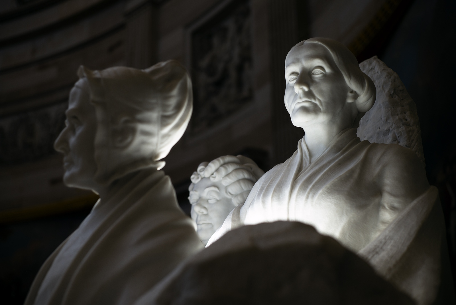 The Suffragettes, a monument to Elizabeth Cady Stanton, Susan B. Anthony and Lucretia Mott, in the Capitol rotunda.