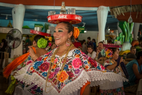 Dancer entertaining tourists in Cancun, Mexico.
