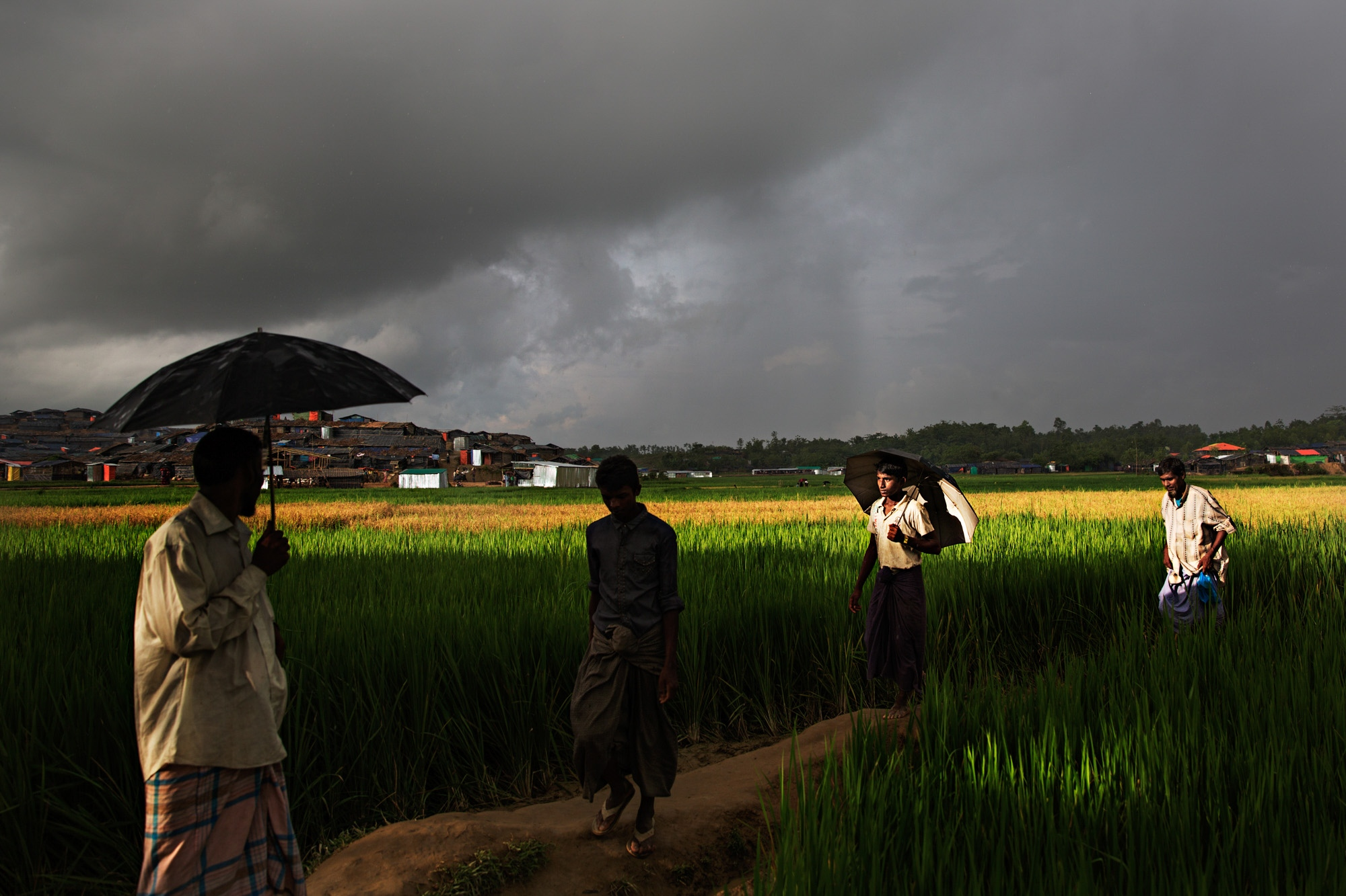 Rohingya men make their way through a flash rainstorm in Bagoha camp. Monsoon rains are a real threat due to the high density of refugees and many diseases and mosquito born illnesses that become prevalent in the damp, humid weather.