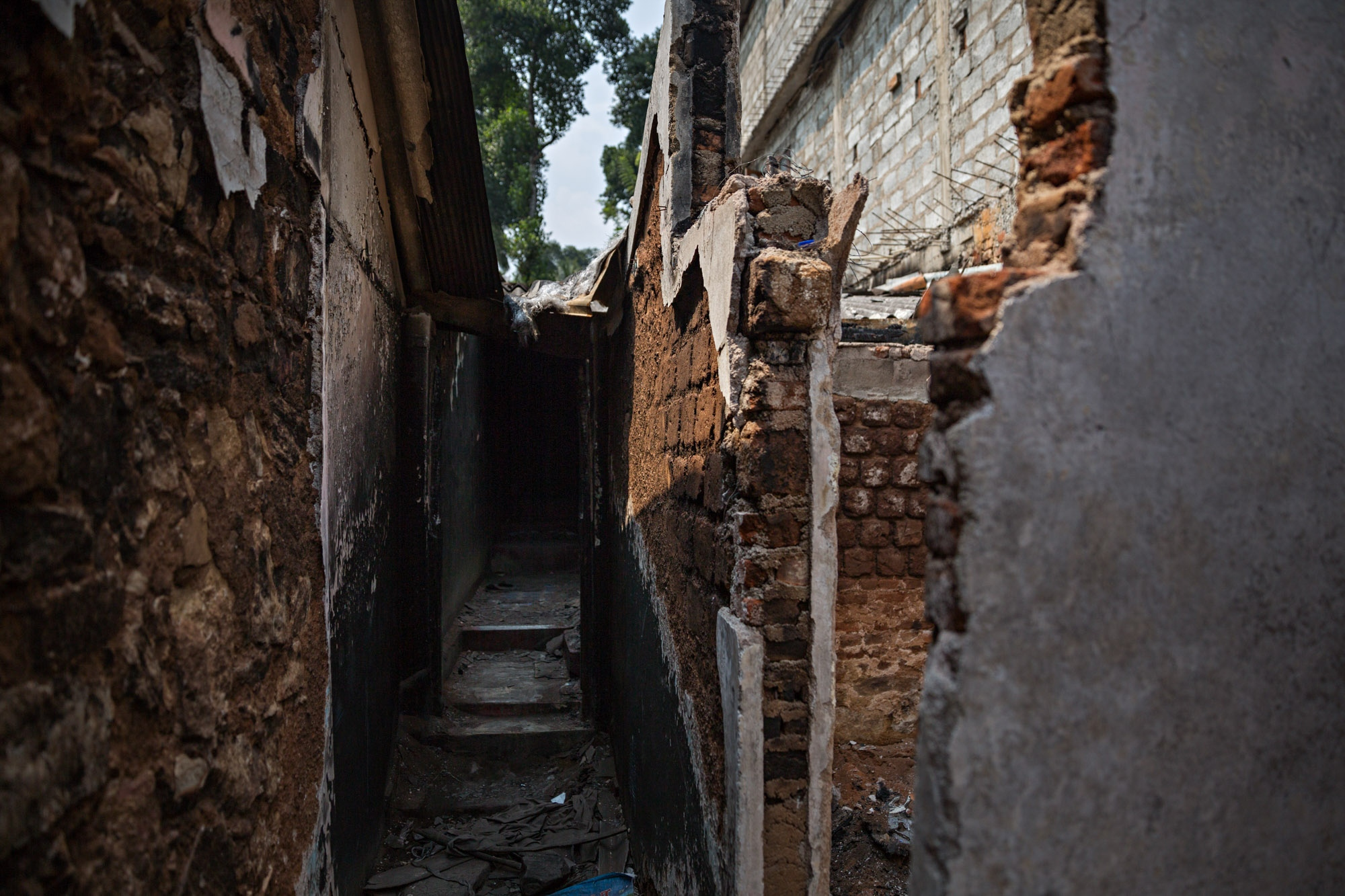 The walls of destroyed homes in Digana, Sri Lanka.