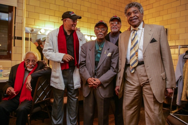 NEA Jazz Masters before Flushing Town Hall concert, (l-r) Barry Harris, Jimmy Owens, Jimmy Heath, Jimmy Cobb and George Coleman. November 2016