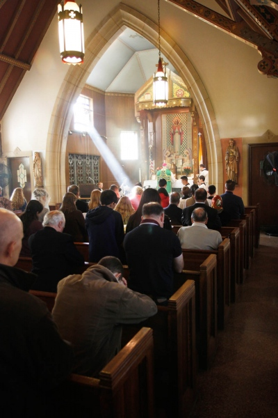 The only weekly Latin mass in Queens draws worshippers from three states to an small chapel in St. John's cemetery. Middle Village, February 2016
