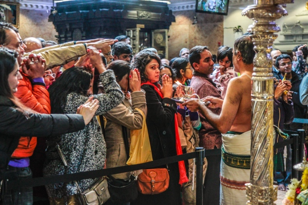 On New Year's Day, the Hindu Temple of North America is packed with people seeking blessings. Flushing, January 2018