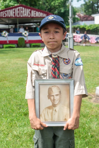 Cub Scout at Memorial Day ceremony, Whitestone, June 2016