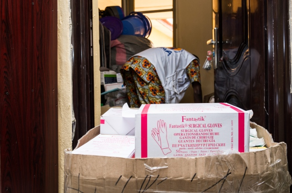 A box full of hand gloves is put just outside the store at the Infection Control Center, Federal Medical Center, Owo, Ondo state. Most of the items in the store were purchased by ALIMA.
