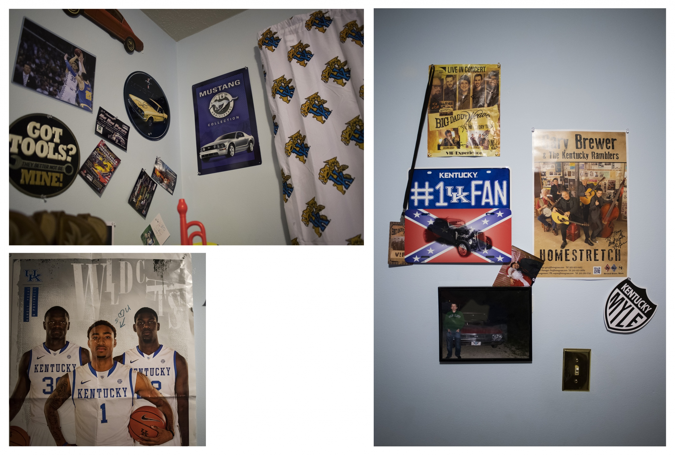 Some of Tony's favorite things, hanging in his room.