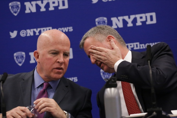 Mayor de Blasio and NYPD Commissioner James O'Neill at monthly crime stat news conference. Astoria, March 2017