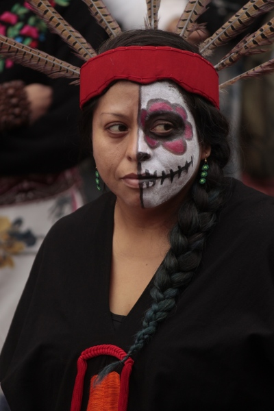 Day of the Dead celebrant. Corona, October 2017