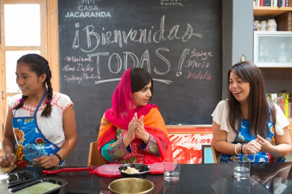 Malala Yousafzai takes a cooking class with young women from the Latin American Girls Summit in Mexico City as part of her #GirlPowerTrip.
