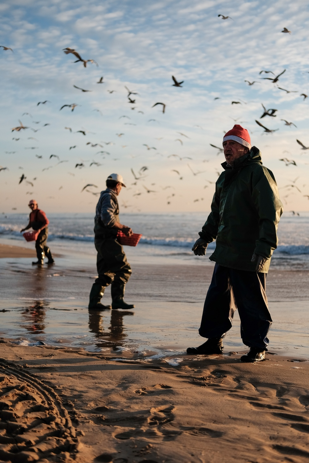 Fishermen keep going until there are practically no fish left in the sand.