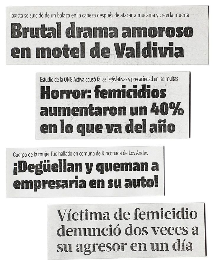 Newspaper reporting femicides. Chile.