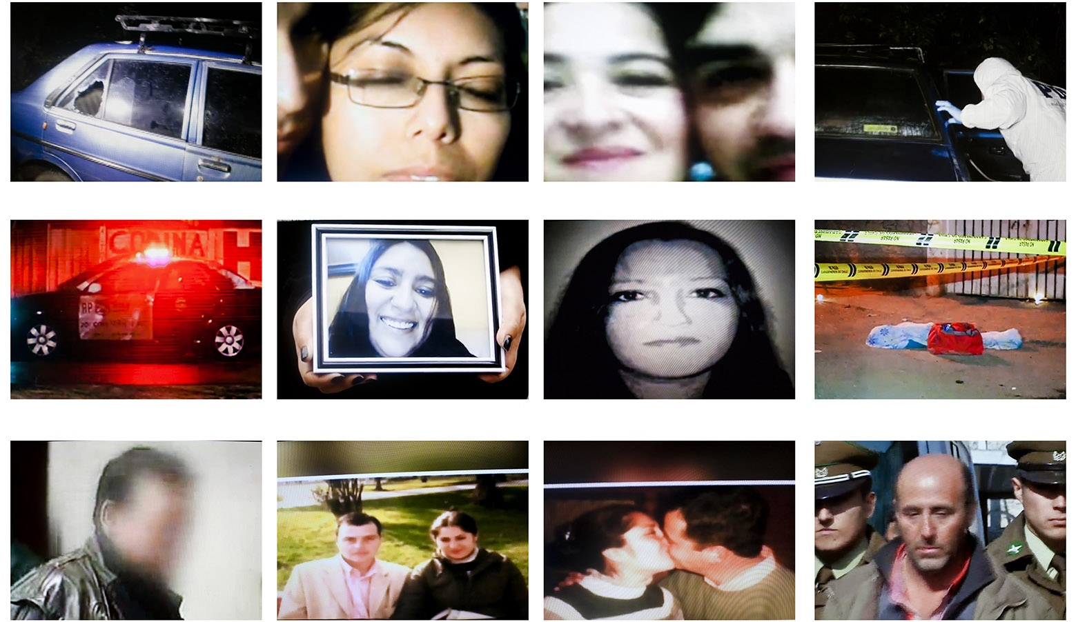 Screenshots from tv news reporting femicides. Chile.